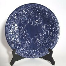 "Bordallo Pinheiro Embossed Flowers Blue 10.8"" Dinner Plate Frog on the Back"