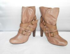 Women's DKNY Sandra Timber Taupe Leather Fashion Slip-on Ankle Boots Size 8.5 B
