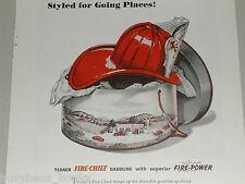 1946 TEXACO advertisement, Texaco Fire-Chief gasoline, Fireman's helmet, hat box