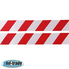 2x Warntafel rot weiss Streifen reflektierende Reflektor Aufkleber 30 x 5cm M2