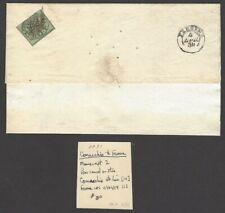 Italy Roman State #2 1b grey green ms cancel on 1854 cover Comacchio to Ferrara