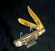 Boker Stag Trappers Knife #492 Gold Limited Edition Utah 1869-1969 Railroad Rare