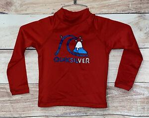 Quicksilver Boys Swim Shirt Size 3 Red & Blue UPF 50+ Long Seelves NWT $29 LBB76