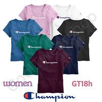 Authentic Champion Women's Jersey Script Logo Short Sleeves T-Shirt GT18H Y07418