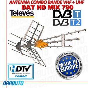 ANTENNA TV COMBO VHF + UHF AMPLIFICATA 44dB TELEVES 149442 DAT BOSS MIX T-FORCE
