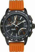 New Timex T2N707 IQ Fly Back Chronograph Watch Orange Silicone/Black Analog