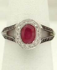 LADIES 18k WHITE GOLD 1/2ct NATURAL OVAL RED RUBY 1/4ct DIAMOND HALO TALL RING