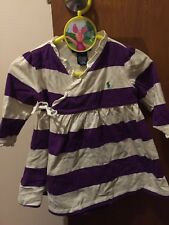 Ralph Lauren Baby Girls Purple And White Striped Dress With Matching Nappy Cover