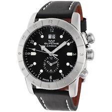 Glycine Men's GL0150 Airman 42 GMT 42mm Quartz Black Dial Black Leather Watch