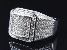 Ring White Gold Over For Men's New…! Sterling Silver Pave Set White Sim.Diamond