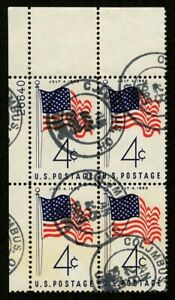 US 1960 #1153 - 4c American Flag Issue Plate Block of 4 Columbus OH Cancel Used