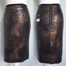 NEXT Black Gold Animal Print Sequin Pencil Skirt Sz 12 NWT £35 Party Occasion