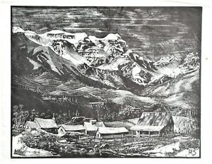 Richard Shell Colorado Artist Mountain Scene Wood Engraving (III)