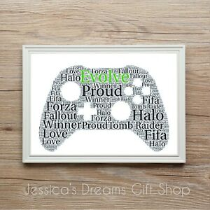 Xbox Game Controller Personalised Word Art Print Gift Dad Son Birthday Christmas
