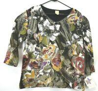 New Jess & Jane Cinnamon Women's XL Floral Flowers Black Long Sleeve Blouse Top