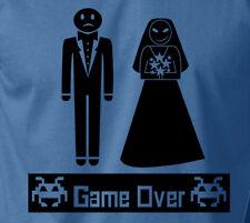 Funny GAME OVER Wedding Marriage T-Shirt Bachelor Groom Couple Gift Ringspun Tee