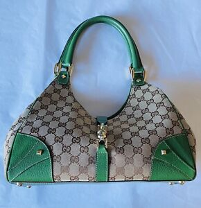 Vintage Gucci GG Canvas Nailhead Jackie Bardot Bag With Green Leather trim