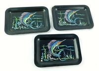 """Hand Painted Swordfish Lot of 3 on Small Black Metal Trays, 6 1/2"""" x 4 1/2"""""""