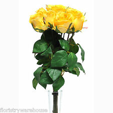 Artificial Silk Rose Bunch Yellow 9 Individual Stems 42cm/16.5 Inches