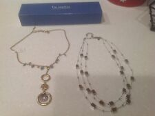 Lia Sophia Necklaces: 1. Hammered Gold w/Turquoise Beads; 2. Silver Square Beads