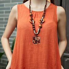 Boho Ethnic Style Necklace Wood Elephant Animal Pendant Bead Long Chain Necklace