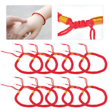 10pcs Braided Lucky Red String Love Rope Cord Jude Beaded Adjustable Bracelet