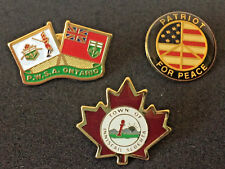 Lot of 3 Enamel Cloisonne Pins, Lapel Pins, Pinbacks, Patriot for Peace & Canada