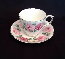 Vintage ROYAL VICTORIA Fine Bone China Made In England Cup & Saucer Pink Roses