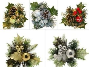 Christmas Picks x 3 Holly Glitter Bauble Wreath Making Decorations 8 Designs