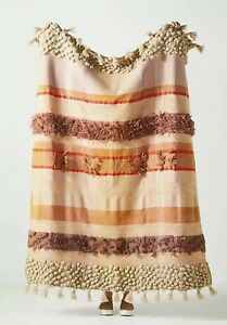 NWT Anthropologie All Roads Textured  Elijah Mauve Throw Blanket NEW Thick
