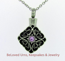 Stainless Steel Pendant With Pink Center Stone Cremation Jewelry Pendant Urn