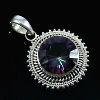 Rainbow Quartz Solid 925 Sterling Silver Pendant Necklace New Year Gift