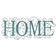 Distressed Turquoise Home Word Rustic Metal Wall Decor   Shabby Chic Decor!