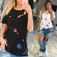 Destroy Hole Women's Tops Loose Tee Short Sleeve Girls T shirt Casual Blouse AU