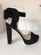 Jimmy Choo Kaytrin 120 Black Suede Platform Ankle Tie Strap Sandals RP£595 S 39