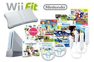 Nintendo Wii weiß Konsole + ORIGINAL Remote Controller, Nunchuk, Kabel & Spiel