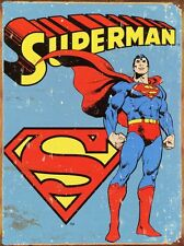 "Superman Distressed Retro Vintage Tin Sign 8"" x 12"" Art Poster Collectible"