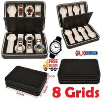 8 Slots PU Leather Watch Carry Storage Case Organizer 8 Grids Travel Portable UK