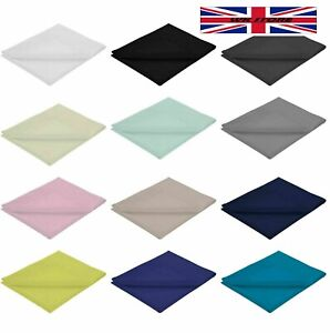 Double Size Fitted Bed Sheet Plain Dyed Poly Cotton Percale Bedroom Colours UK