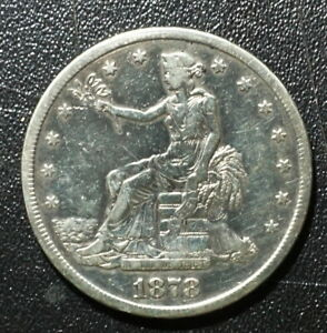 """1878-S  $1 TRADE DOLLAR US 90% SILVER COIN HAS VERY FINE DETAILS BUT """"CLEANED"""""""