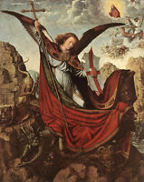 "Dream-art oil painting angel girl Altarpiece of St Michael David Gerard 24""x36"""