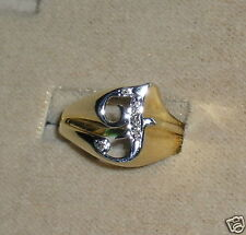 """SOLID   14K Gold    DIAMOND   Initial  """" F """"  Signet    Ring"""