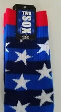 Mens Two Sox Brand Blue White Red Stars Acrylic Blend Pair Socks Size 10-13