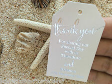 10 White Gift Tags Bomboniere Wedding Favour Personalised Thank You Silver Foil