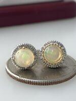 Opal and Diamond Stud Earrings in 10k Yellow Gold