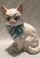 CAT STATUE FIGURINE CERAMIC HANDMADE HANDPAINTED GRAY WHITE KITTEN