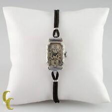 Hafis 18ct Oro Blanco Mecánico Correa Manual Reloj W/ Seda cordón Banda