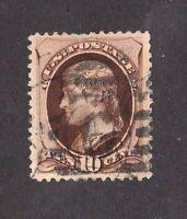 United States stamp #187, used, 10c brown, no secret mark, 1879, SCV $40.00
