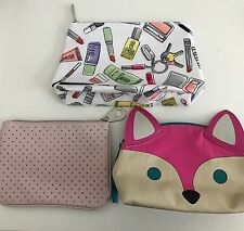 Lot of 3 Make Up Bags Small Clinique Aerie Pouch Travel C33