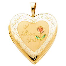 Heart Pendant Photo Locket Charm I Love you Scripted Rose 14K Solid Yellow Gold